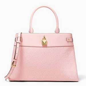 NWT Michael Kors Powder Blush Pink Gramercy Large Satchel Logo Debossed